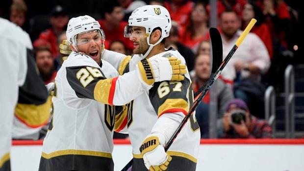 Blackhawks earn 1st victory over Golden Knights