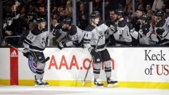 Los Angeles Kings' Nikolai Prokhorkin, right front, celebrates with teammates