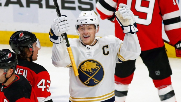 Sabres score five goals in first period, defeat Devils