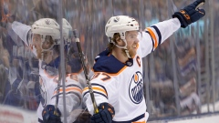 Connor McDavid celebrates his goal against the Leafs.
