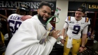 Odell Beckham Jr. celebrates in the locker room with Joe Burrow