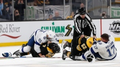 Tampa Bay Lightning and Boston Bruins fight