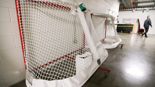 NHL nets used by the Nashville Predators are stored in a hallway in Bridgestone Arena Thursday.