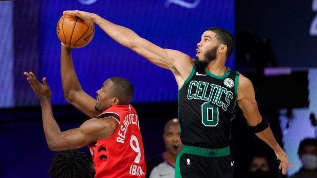 Jaylen Brown Jayson Tatum Help Boston Celtics Dominate Toronto Raptors To Take Game 5 Tsn Ca