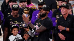 LeBron James holds NBA Finals MVP trophy