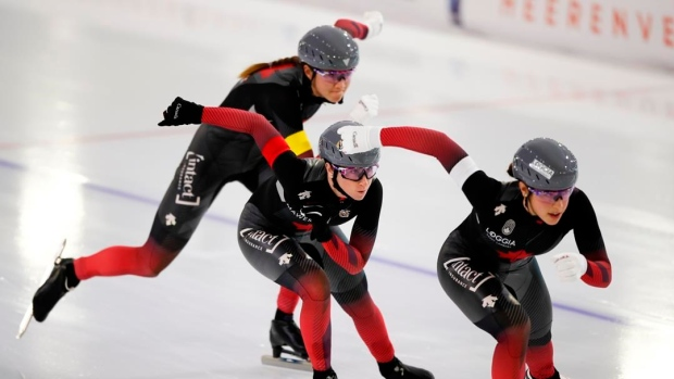 Isabelle Weidemann, Ivanie Blondin, and Valerie Maltais,