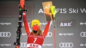 Liensberger overtakes Shiffrin for women's World Cup slalom victory