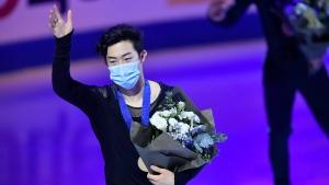 Chen wins third straight worlds, beating Olympic champ Hanyu