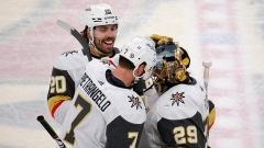 Marc-Andre Fleury celebrates with teammates