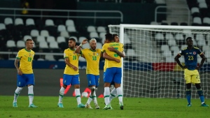 Brazil beats Colombia after referee's accidental pass