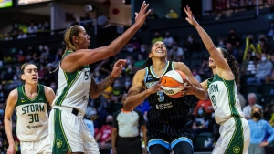 Parker scores 25 points, Sky hit 15 threes to rout Storm