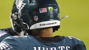 NFL returns social justice helmet decals, end zone stencils