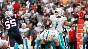 Tagovailoa touchdown pass lift Dolphins over Patriots