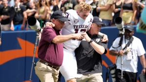 Texas A&M coach says QB King to miss time with 'crack in his lower leg'