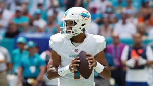 Dolphins QB Tagovailoa carted off, questionable to return with rib injury