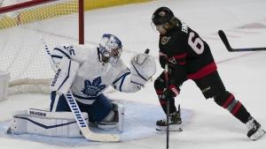 Mrazek injury, cap squeeze force Leafs to dress U of T goalie as backup against Sens