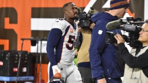 Broncos' Miller (leg) exits early vs. Browns