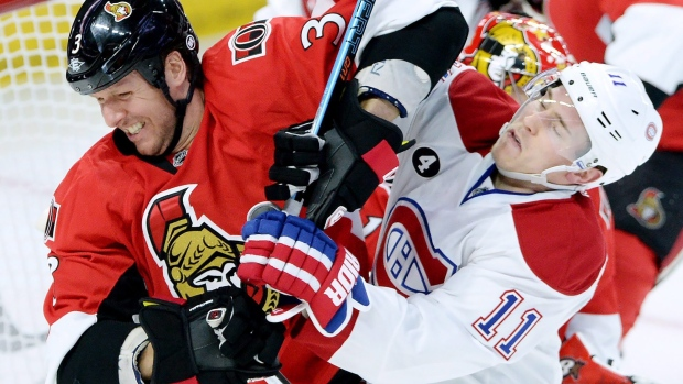 Senators-marc-methot-canadiens-brendan-gallagher