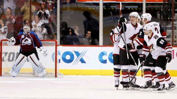 Arizona Coyotes celebrate