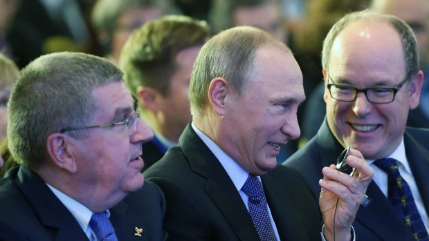 Thomas Bach, Vladimir Putin and Prince Albert II of Monaco