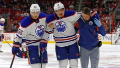 Nail Yakupov helped off the ice