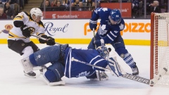 Maple Leafs goaltender James Reimer Bruins Brad Marchand