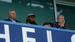 Guus Hiddink, Didier Drogba and Roman Abramovich