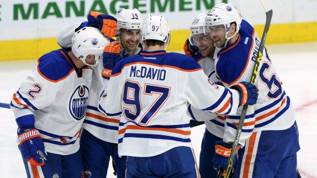 Connor McDavid and Oilers celebrate