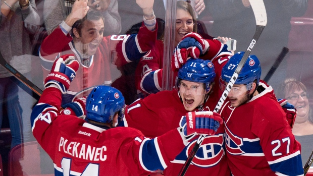 Tomas Plekanec and Canadiens Celebrate