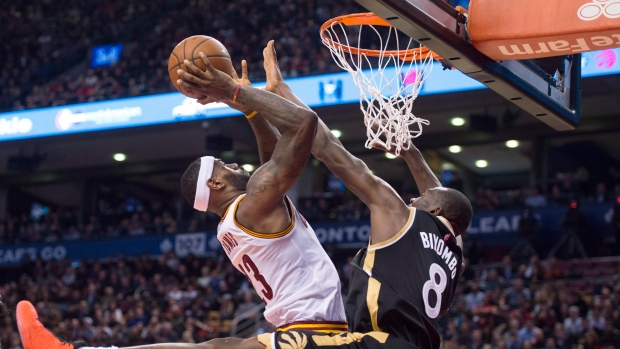 LeBron James blocked by Bismack Biyombo