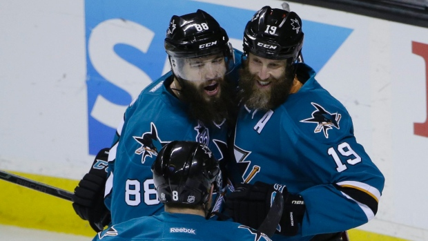 Image result for brent burns joe thornton
