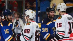 Blues and Blackhawks shake hands