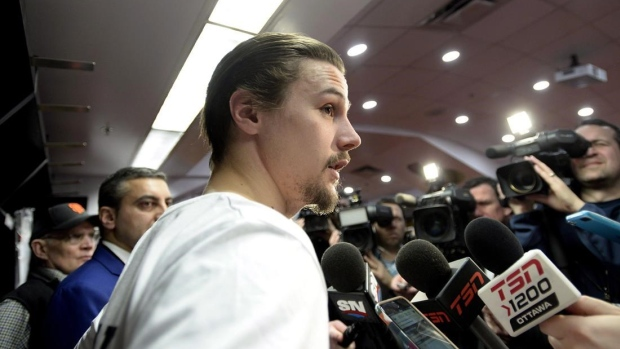 Erik Karlsson at media scrum