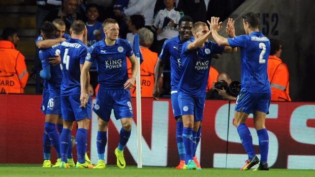 Leicester's players celebrate