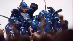 Canucks celebrate Brandon Sutter's OT winner