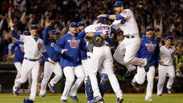 Chicago Cubs celebrate NLCS
