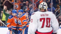 Braden Holtby and Edmonton Oilers Celebrate