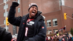 Henry Burris at the Grey Cup parade in Ottawa