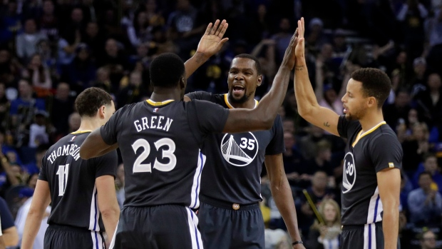 Kevin Durant, Warriors celebrate