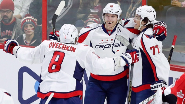 Ovechkin, Backstrom and Oshie celebrate