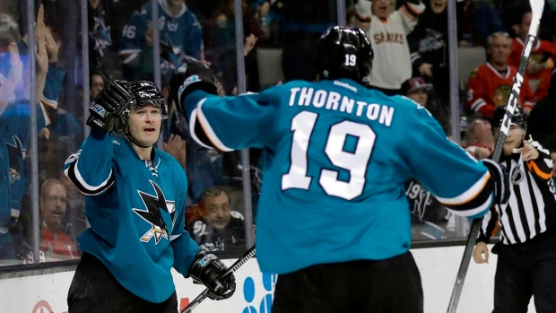 Patrick Marleau & Joe Thornton celebrate
