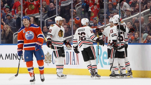 Blackhawks celebrate vs. Oilers