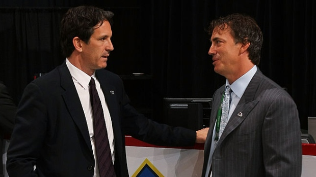 Brendan Shanahan and Joe Sakic
