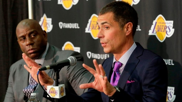 Magic Johnson and Rob Pelinka