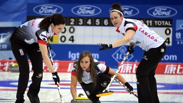 Rachel Homan, Lisa Weagle and Joanne Courtney