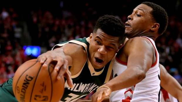 Giannis Antetokounmpo and Kyle Lowry