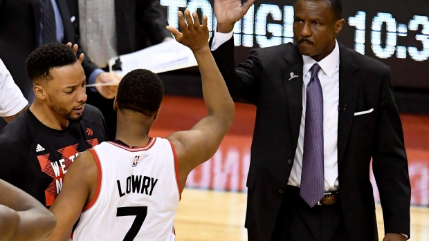 Kyle Lowry and Dwane Casey