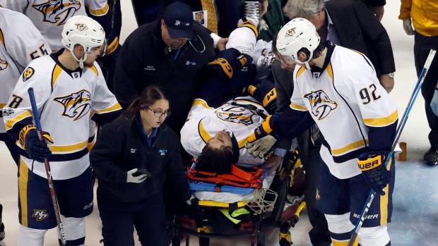 Kevin-fiala-taken-off-on-stretcher