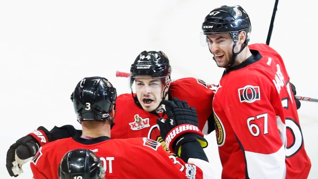 Ottawa Senators celebrate goal.