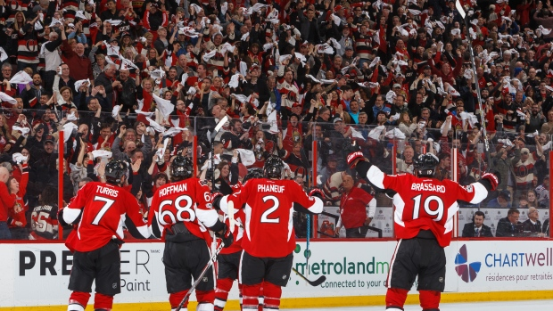 Kyle Turris and Senators Celebrate